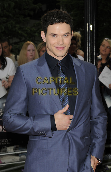 "KELLAN LUTZ .UK Gala Premiere of ""The Twilight Saga: Eclipse"" at the Odeon Leicester Square, London, England, UK, July 1st 2010. .half length blue suit tie black hand.CAP/CAN.©Can Nguyen/Capital Pictures."