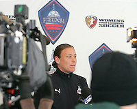 Abby Wambach greets the press during Washington Freedom  practice and media event at the Maryland Soccerplex on March 25 in Boyd's, Maryland.