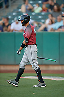 Aramis Garcia (49) of the Sacramento River Cats on deck against the Salt Lake Bees at Smith's Ballpark on July 18, 2019 in Salt Lake City, Utah. The Bees defeated the River Cats 9-6. (Stephen Smith/Four Seam Images)