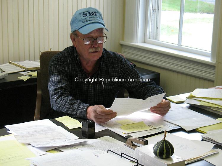BRIDGEWATER, CT - 012910RH01 - Bridgewater First Selectman William T. Stuart in his Town Hall office
