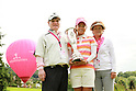 (L-R) Ai Miyazato (JPN), Masaru Miyazato, Toyoko Miyazato,..JULY 24, 2011 - Golf :Ai Miyazato of Japan celebrates with the trophy and her family, father Masaru and mother Toyoko as the Evian Masters balloon is seen in the background after winning the Evian Masters at the Evian Masters Golf Club in Evian-les-Bains, France. (Photo by Yasuhiro JJ Tanabe/AFLO)