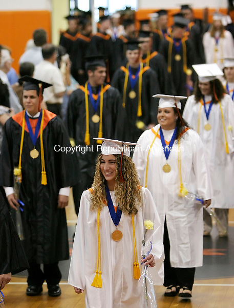 PLYMOUTH, CT, 15 June 2006- 061506BZ07- The class of 2006 makes its way into the gymnasium for commencement excercises at Terryville High School Thursday night. <br /> Jamison C. Bazinet Republican-American