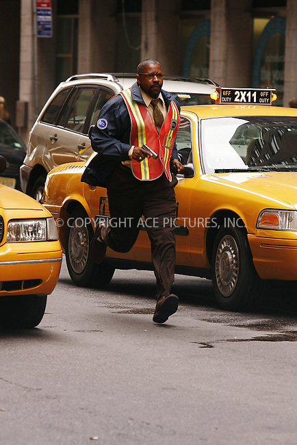 WWW.ACEPIXS.COM . . . . .  ....April 27 2008, New York City....Actor Denzel Washington on the set of the new movie 'The taking of Pelham 123' on Park Avenue in midtown manhattan.....Please byline: AJ Sokalner - ACEPIXS.COM..... *** ***..Ace Pictures, Inc:  ..te: (646) 769 0430..e-mail: info@acepixs.com..web: http://www.acepixs.com