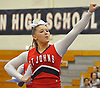 Maddi Meyers and the St. John the Baptist varsity cheerleaders perform during an invitational competition held at Smithtown High School West on Saturday, Dec. 17, 2016.