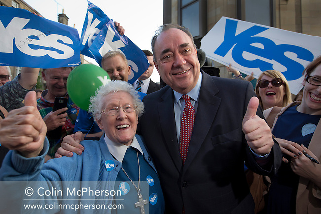 Scotland's First Minister Alex Salmond MSP is pictured with a supporter called Sister Elizabeth during an event in Perth where he met activists from the Yes Scotland campaign. Yes Scotland was campaigning for a pro-independence vote in a referendum to establish whether Scotland would remain part of the United Kingdom. On the 18th of September 2014, the people of Scotland voted in a referendum to decide whether the country's union with England should continue or Scotland should become an independent nation once again and leave the United Kingdom.