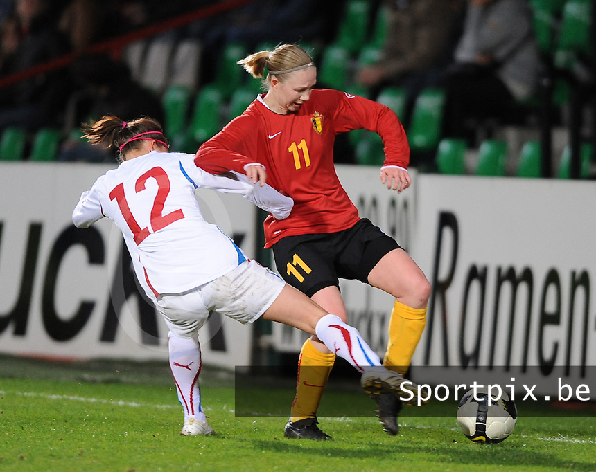 Belgium - Czech Republic : Inge Heiremans aan de bal.foto DAVID CATRY / Vrouwenteam.be