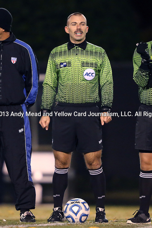 12 November 2013: Referee Chris Penso. The Wake Forest University Demon Deacons hosted the University of Virginia Cavaliers at Spry Stadium in Winston-Salem, North Carolina in a 2013 NCAA Division I Men's Soccer match and the quarterfinals of the Atlantic Coast Conference tournament. Virginia won the game 1-0 in overtime.