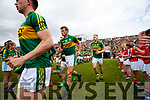 Donnchadh Walsh, Peter Crowley Kerry team takes to the field before the Munster Senior Football Final at Fitzgerald Stadium on Sunday.