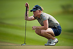 CHON BURI, THAILAND - FEBRUARY 16:  Morgan Pressel of USA lines up a putt on the 17th hole during day one of the LPGA Thailand at Siam Country Club on February 16, 2012 in Chon Buri, Thailand.  Photo by Victor Fraile / The Power of Sport Images