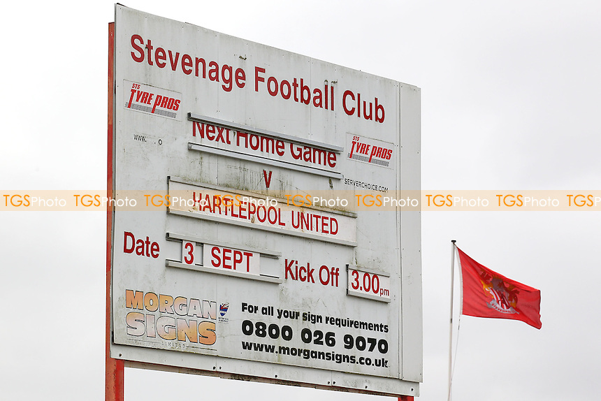 The sign announcing the game during Stevenage vs Hartlepool United, Sky Bet EFL League 2 Football at the Lamex Stadium on 3rd September 2016
