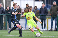 20191123 – BRUGGE, BELGIUM : Brugge's Chelsey Vanhooren (left) pictured defending on Gent's Shari Van Belle (r) during a women soccer game between Dames Club Brugge and K AA Gent Ladies on the ninth matchday of the Belgian Superleague season 2019-2020 , the Belgian women's football  top division , saturday 23 th November 2019 at the Jan Breydelstadium – terrain 4  in Brugge  , Belgium  .  PHOTO SPORTPIX.BE | DAVID CATRY
