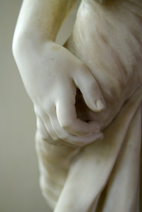 Detail of a female hand carved in marble, from a tomb in a church in Beaminster, Dorset. England 2008.
