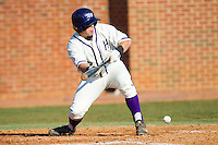 Dominic Fazio (32) of the High Point Panthers lays down a bunt against the Bowling Green Falcons at Willard Stadium on March 9, 2014 in High Point, North Carolina.  The Falcons defeated the Panthers 7-4.  (Brian Westerholt/Four Seam Images)