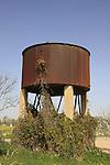Israel, Besor region in the Negev. The old water tower in Kibbutz Tzeelim