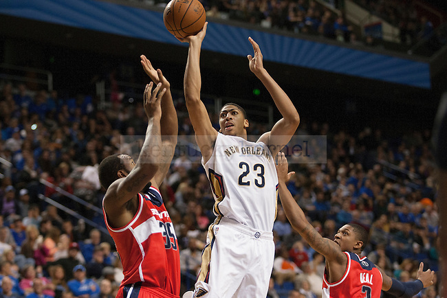 Anthony Davis shoots over Trevor Booker during a NBA Preseason game between the Washington Wizards and the New Orleans Pelicans at Rupp Arena in Lexington, Ky., on Saturday, October 19, 2013. Photo by Michael Reaves | Staff