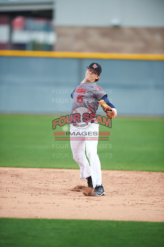 John Michael McRae (15) of Hahira, Georgia during the Under Armour All-American Pre-Season Tournament presented by Baseball Factory on January 14, 2017 at Sloan Park in Mesa, Arizona.  (Mike Janes/MJP/Four Seam Images)