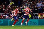 Hector Herrera (L) and Victor Machin 'Vitolo' (R) of Atletico de Madrid celebrate goal during UEFA Champions League match between Atletico de Madrid and Juventus at Wanda Metropolitano Stadium in Madrid, Spain. September 18, 2019. (ALTERPHOTOS/A. Perez Meca)
