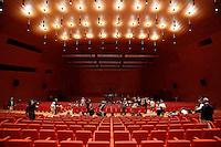 L'auditorium<br /> Roma 19-07-2016 Apertura in anteprima per la stampa del 'La Nuvola' ideata dall'architetto Massimiliano Fuksas. Per l'occasione l'opera e' stata illuminata per la prima volta con spettacolari proiezioni.<br /> Opening for the press and lighting of 'The Cloud', the new Eur Convention centre by the famous archistar Massimiliano Fuksas. The Cloud's history began 18 years ago, wen the project began, its construction started in 2008, but, due mainly to the huge cost of the opera, the project took almost 10 years to be realized.<br /> Photo Samantha Zucchi Insidefoto