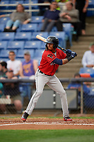 Erie SeaWolves shortstop Sergio Alcantara (1) at bat during a game against the Binghamton Rumble Ponies on May 14, 2018 at NYSEG Stadium in Binghamton, New York.  Binghamton defeated Erie 6-5.  (Mike Janes/Four Seam Images)