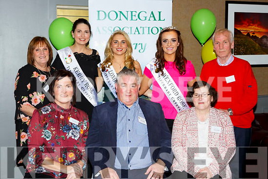 The Donegal Association of Kerry who met in Scotts Hotel on Saturday night front row l-r: Annette Horgan, Sean Gallagher,, Patricia Fleming, Back row; Rosanne Fogarty, Breda O'Mahony Kerry rose, Caoimhe Gallagher London Rose, Julie Sinnot Wexford Rose and Neil Doherty