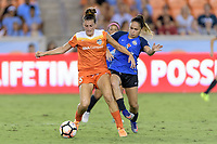 Houston, TX - Sunday August 13, 2017: Cari Roccaro, Lo'eau Labonta during a regular season National Women's Soccer League (NWSL) match between the Houston Dash and FC Kansas City at BBVA Compass Stadium.