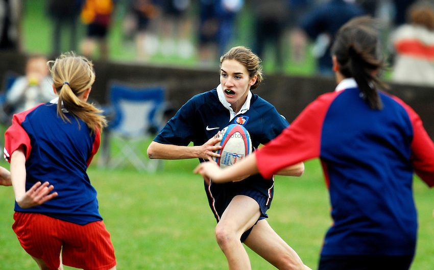 Photo: Alan Crowhurst..The Daily Telegraph National Emerging Schools Rugby Festival. 05/05/2007. St Bedes school attack. U14 Girls.