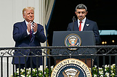 """Sheikh Abdullah bin Zayed bin Sultan Al Nahyan, Minister of Foreign Affairs and International Cooperation of the United Arab Emirates makes remarks as United States President Donald J. Trump and First lady Melania Trump host a signing ceremony of the """"Abraham Accords"""" on the South Lawn of the White House in Washington, DC on Tuesday, September 15, 2020.  The Trumps are joined by Prime Minister Benjamin Netanyahu of Israel; Sheikh Abdullah bin Zayed bin Sultan Al Nahyan, Minister of Foreign Affairs and International Cooperation of the United Arab Emirates; and Dr. Abdullatif bin Rashid Alzayani, Minister of Foreign Affairs, Kingdom of Bahrain.<br /> Credit: Chris Kleponis / Pool via CNP"""