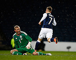 Matt Richie of Scotland turns away to celebrate scoring the first goal past Kasper Schmeichel of Denmark during the Vauxhall International Challenge Match match at Hampden Park Stadium. Photo credit should read: Simon Bellis/Sportimage
