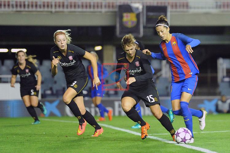 UEFA Women's Champions League 2016/2017.<br /> Round of 16 - First Leg<br /> FC Barcelona vs Twente: 1-0.<br /> Erman vs Jennifer Hermoso.