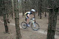 07 APR 2007 - THETFORD, UK - A competitor makes their way through a wooded section during round 1 of the British Mountain Bike X Country series. (PHOTO (C) NIGEL FARROW)