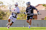 Los Angeles, CA 03/12/16 - Nate Fredricks (Loyola Marymount #2) and Nick Casillas (Utah State #33) in action during the Utah State vs Loyola Marymount MCLA Men's Division I game at Leavey Field at LMU.  Utah State defeated LMU 17-4.