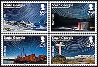 BNPS.co.uk (01202 558833).Pic: SamanthaCrimmin/BNPS..***Please Use Full Byline***..The stunning new South Georgia stamps...A British doctor's stunning photos of the sky at night over South Georgia left locals so star-struck they have been turned into stamps...Dr Samantha Crimmin was working as an emergency medic for the British Antartic Survey team when she took the celestial images in her spare time...Dr Crimmin used long exposures and plenty of patience to create the incredible shots that show star trails in a perfect circular motion...Her gallery of photos depict the night sky above different locations on the tiny outpost in the south Atlantic...They include one above the Harker Glacier - named after British geologist Alfred Harker - and over the wrecks of two Norwegian whaling ships at Grytviken.
