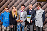 At the Lee Strand Kerry Garda Youth Achievement Awards 2016 in Ballyroe Heights on Friday were, from left. Devin Burns, Denise Burns , Darren Burns , Tralee, Distinction Award Winner,  Michael Burns and Dylan  Burns