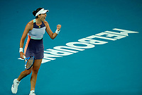 1st February 2020; Melbourne Park, Melbourne, Victoria, Australia; Australian Open Tennis, Day 13, ladies singles final; Garbine Muguruza of Spain during her finals match against Sofia Kenin of USA