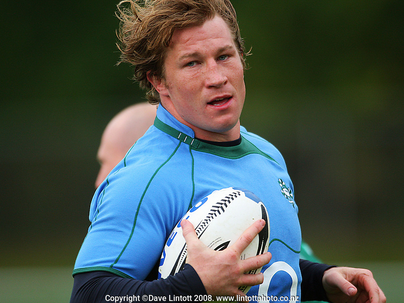 Jerry Flannery during the Ireland rugby union training Session at Porirua Park, Porirua, Wellington, New Zealand on Monday 2 June 2008. Photo: Dave Lintott / lintottphoto.co.nz