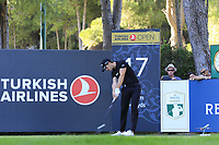 Thomas Detry (BEL) tees off the 17th tee during Friday's Round 2 of the 2018 Turkish Airlines Open hosted by Regnum Carya Golf &amp; Spa Resort, Antalya, Turkey. 2nd November 2018.<br /> Picture: Eoin Clarke | Golffile<br /> <br /> <br /> All photos usage must carry mandatory copyright credit (&copy; Golffile | Eoin Clarke)