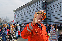 Pictured: One of The Man Engine crew at the Waterfront Museum in Swansea, Wales, UK. Thursday 12 April 2018<br /> Re: The largest mechanical puppet in Britain starts its tour across south Wales.<br /> Man Engine, a mechanical miner which measures 36ft (11m) tall, will appear at the Waterfront Museum in Swansea, Wales, animated by a dozen handlers.<br /> The giant is visiting areas linked to the nation's industrial past.