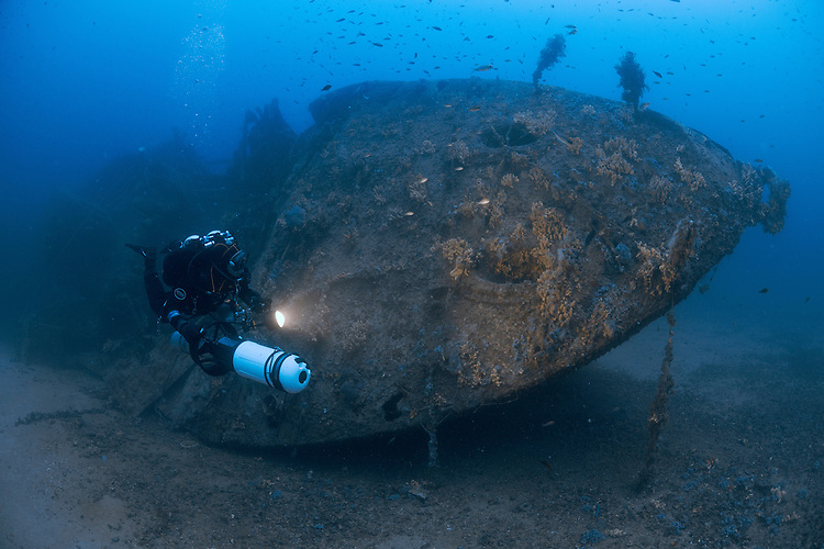 The wreck of the British destroyer HMS Southwold, which lies at 70 metres depth off the coast of Malta. Southwold was sunk by a mine in World War 2
