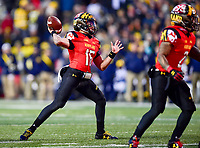 College Park, MD - NOV 11, 2017: Maryland Terrapins quarterback Ryan Brand (16) throws the ball during game between Maryland and Michigan at Capital One Field at Maryland Stadium in College Park, MD. (Photo by Phil Peters/Media Images International)