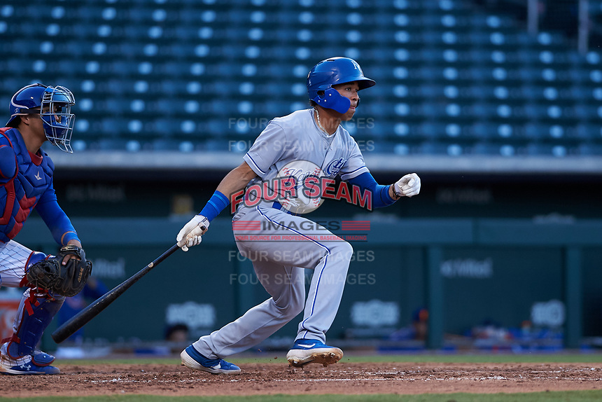 AZL Royals Enrique Valdez (4) at bat during an Arizona League game against the AZL Cubs 1 on June 30, 2019 at Sloan Park in Mesa, Arizona. AZL Royals defeated the AZL Cubs 1 9-5. (Zachary Lucy/Four Seam Images)