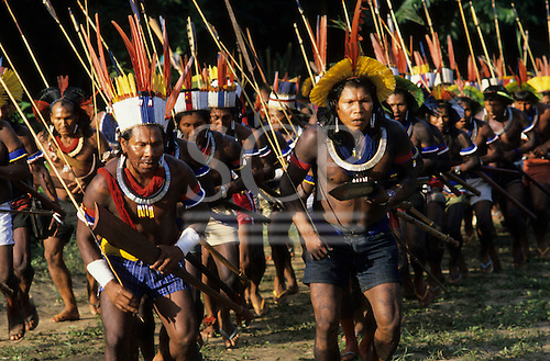 Altamira, Brazil. Group of Indian tribesmen in ceremonial dance. Altamira Gathering, 1989.