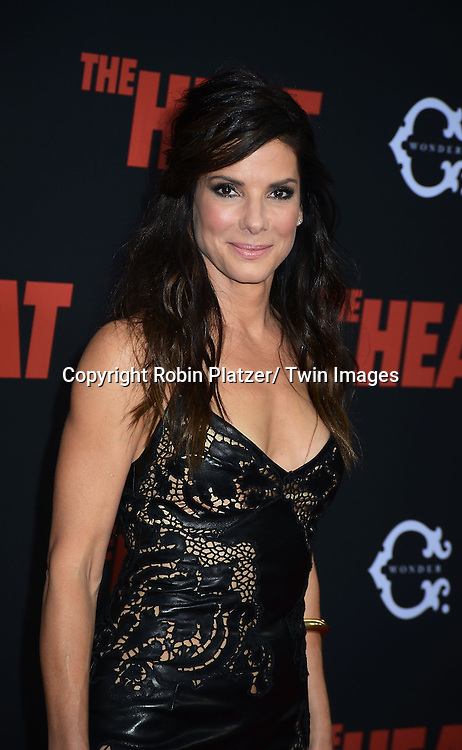 """Sandra Bullock attends the New York Premiere of """"The Heat"""" on June 23,2013 at the Ziegfeld Theatre in New York City. The movie stars Sandra Bullock, Melissa McCarthy, Demian Bichir, Marlon Wayans, Joey McIntyre, Jessica Chaffin, Jamie Denbo, Nate Corddry, Steve Bannos, Spoken Reasons and Adam Ray."""