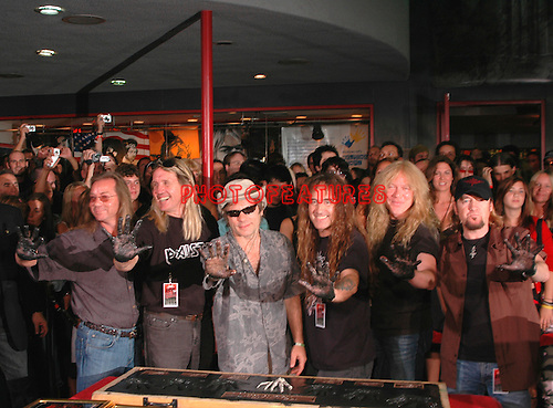 Iron Maiden inducted into Hollywood Rockwalk at Guitar Center on Sunset Blvd in Hollywood, August 19th 2005. l-r Dave Murray,Nicko McBrain, Bruce Dickinson, Steve Harris, Janick Gers, Adrian Smith. Photo by Chris Walter/Photofeatures.