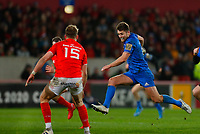 28th December 2019; Thomond Park, Limerick, Munster, Ireland; Guinness Pro 14 Rugby, Munster versus Leinster; Ross Byrne of Leinster makes a bounding run up field - Editorial Use