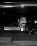 Freddie Mercury of Queen leaving his hotel on October 7, 1982  in New York City.
