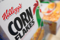 A Kellogg's Corn Flakes cereal box is seen in a Metro grocery store in Quebec city March 4, 2009. Selective focus on Kellogg's logo