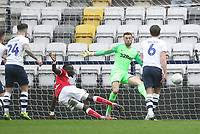 Bristol City's Famara Diedhiou scores his sides first goal   beating Preston North End's Declan Rudd<br /> <br /> Photographer Mick Walker/CameraSport<br /> <br /> The EFL Sky Bet Championship - Preston North End v Bristol City - Saturday 2nd March 2019 - Deepdale Stadium - Preston<br /> <br /> World Copyright © 2019 CameraSport. All rights reserved. 43 Linden Ave. Countesthorpe. Leicester. England. LE8 5PG - Tel: +44 (0) 116 277 4147 - admin@camerasport.com - www.camerasport.com