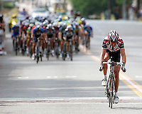 Allan Johansen of Team CSC rides a short-lived breakway during the ending circuit of Stage 1 of the 2006 Ford Tour de Georgia pro cycling race. His teammate Lars Michaelsen won the 129-mile stage from Augusta to Macon in 4:45:46.<br />