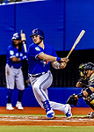 25 March 2019: Toronto Blue Jays top prospect catcher Danny Jansen gets an RBI single to tie the game 1-1 in the second inning of an exhibition game against the Milwaukee Brewers at Olympic Stadium in Montreal, Quebec, Canada. The Brewers defeated the Blue Jays 10-5 in the first of two MLB pre-season games in the former home of the Montreal Expos. Mandatory Credit: Ed Wolfstein Photo *** RAW (NEF) Image File Available ***