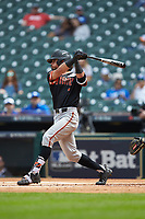 Andrew Fregia (7) of the Sam Houston State Bearkats follows through on his swing against the Kentucky Wildcats during game four of the 2018 Shriners Hospitals for Children College Classic at Minute Maid Park on March 3, 2018 in Houston, Texas. The Wildcats defeated the Bearkats 7-2.  (Brian Westerholt/Four Seam Images)